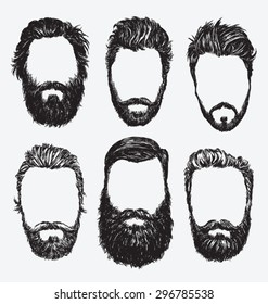 Hipster hair and beards, fashion vector illustration set.