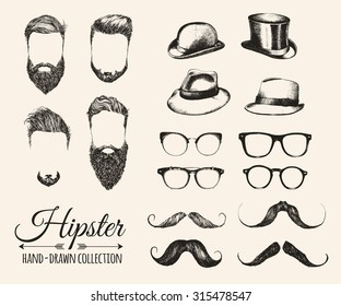 Hipster hair, beards, mustaches, hats, bowler, fedoras and eyeglasses. Vector illustration.