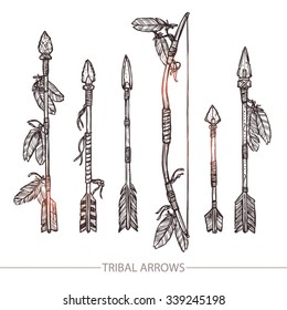 Hipster Hand Drawn Arrows. Indian Arrows And Bow Set