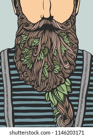Hipster head with blooming beard with leafs. Hand-Drawn Doodle. Vector Illustration. Hand drawn cartoon character. Bearded man template