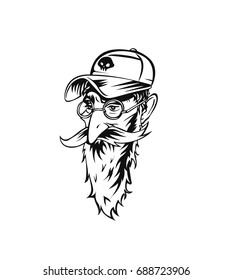 Hipster heads with beards, Hand drawn cartoon character. Bearded man