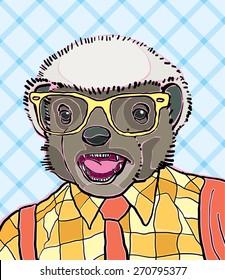 hipster honey badger vector illustration