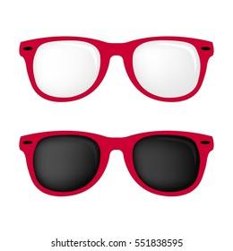Hipster-Farbbrille und -Sonnenbrille einzeln auf Rosa