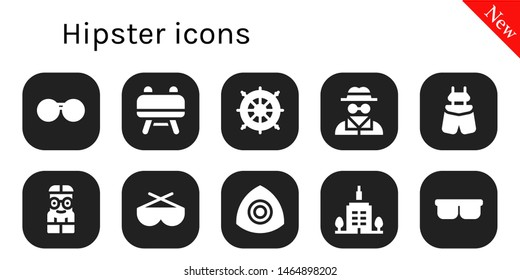 hipster icon set. 10 filled hipster icons.  Collection Of - Sunglasses, Buck, Helm, Invisible man, Suspenders, Nerd, Chalk, Skyscrapper