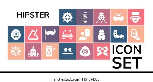 hipster icon set. 19 filled hipster icons.  Collection Of - Helm, Tamagotchi, Skyscrapper, Selfie, Sunglasses, Chalk, Bow tie, Triangle, Moustache, Suspenders, Tattoo, Barber