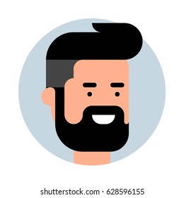 Hipster icon. Vector flat illustration. Smiling bearded man.