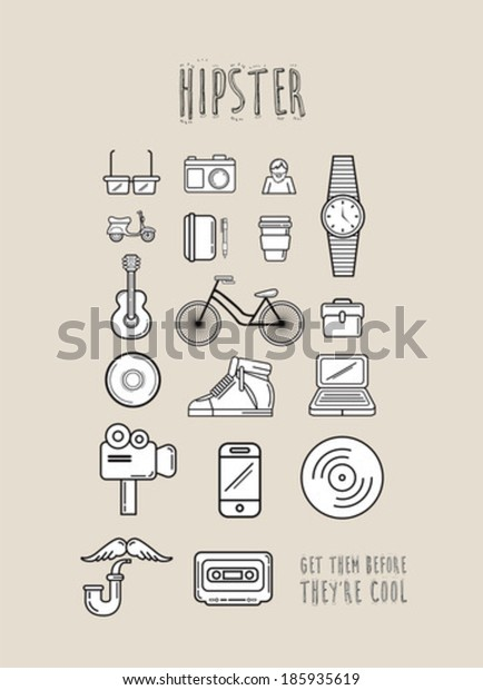 Hipster icons in simple design on beige background