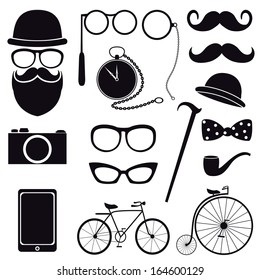 Hipster  icons. Vector set, EPS 8.