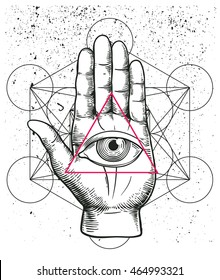 Hipster illustration with sacred geometry, hand, and all seeing eye symbol inside triangle pyramid. Eye of Providence. Masonic symbol. Vintage background. Esoteric spiritual  mascot. t-shirt design