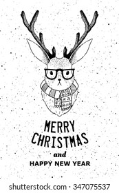 Hipster jacalope vector illustration. Horned rabbit retro poster. Bunny with horns t-shirt grunge print. Fantasy Merry Christmas card or poster idea.