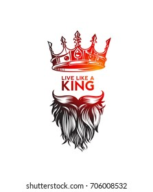 Hipster king icon with crown, hand sketch, hairstyle, mustache and beard, king, rule, dictator, diplomatic, arrogant, aggressive, black background, vector illustration