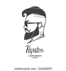 hipster label badge, for logo, simple iilustration, man, profile view