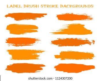 Hipster label brush stroke backgrounds, paint or ink smudges vector for tags and stamps design. Painted label backgrounds patch. Interior paint color palette elements. Ink dabs, red splashes.