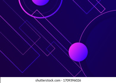 Hipster landing page design. 3d in dark violet neon colors wallpaper. Line ball primitive figure diagonal liquid design. Music illusion violet abstract fractal. Plastic isometric geometry