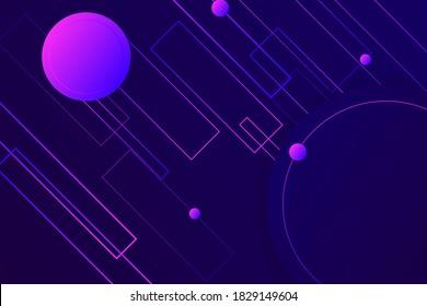 Hipster landing page design. 3d in dark violet neon colors wallpaper. Line ball primitive figure diagonal liquid design. Music illusion violet abstract fractal. Plastic isometric geometry