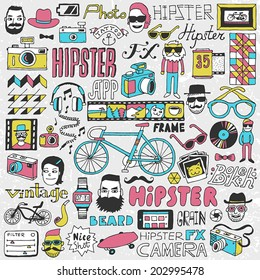 Hipster lifestyle colorful doodle set. Hand drawn vector illustration.