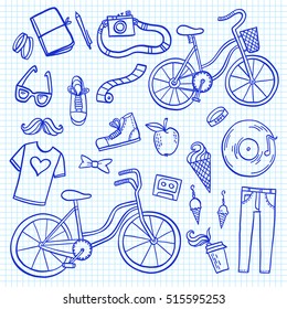 Hipster lifestyle colorful doodle set. Hand drawn vector illustration collection with bicycle, ice cream, t-shirt, apple, mustache and coffee.