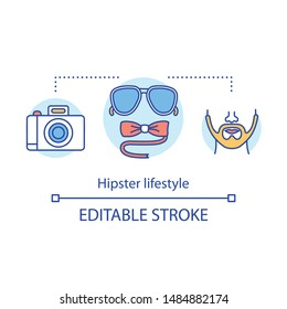 Hipster lifestyle concept icon. Contemporary subculture idea thin line illustration. Young creative person. Style accessories. Fashion following. Vector isolated outline drawing. Editable stroke