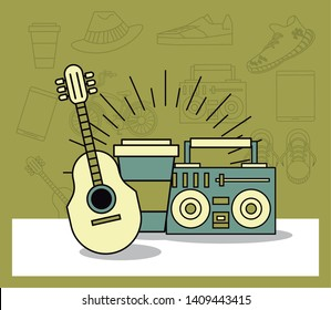 Hipster lifestyle guitar and radio with coffee cup cartoons vintage colors vector illustration graphic design