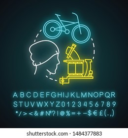 Hipster lifestyle neon light concept icon. Contemporary subculture idea. Fixed-gear bicycle. Young creative person. Fashion. Glowing sign with alphabet, numbers, symbols. Vector isolated illustration