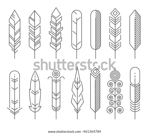 Hipster line feathers vector set. Feather hipster ethnic icons