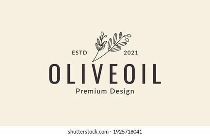 hipster line olive oil logo design vector icon symbol illustration