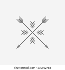Hipster logo, with arrows. Black and white design. Outline style. Conceptual minimal icon.Use for card, poster, brochure, banner, web. Easy to edit. Vector illustration - EPS10.