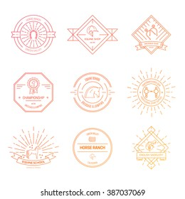 Hipster logo bundle with horse equipment. Equine and equestrian label collection. Saddle, bit, spurs and other horse riding gear.