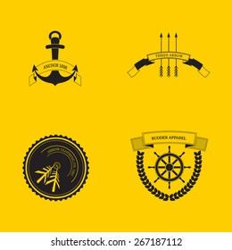 Hipster logo set arrow rudder anchor