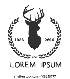 Hipster logo with silhouette of deer and twigs around. Hand drawn brush. Vector illustration. Reindeer logotype for hunting club or touristic camp.
