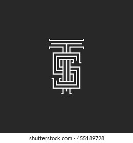 Hipster logo TS combination two letters T S, black and white mockup t-shirt print couple ST linear emblem