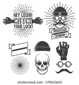 Hipster logos with skull in caps and glasses with a mustache, with his hands and sunburst. Elements for retro emblems.