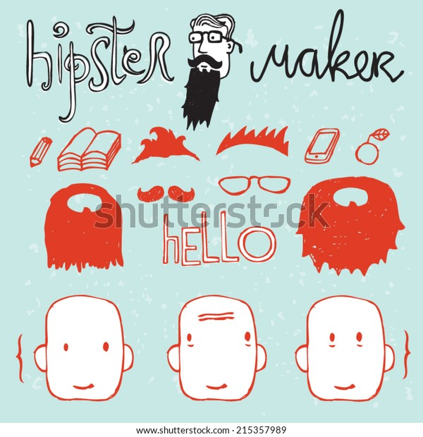 Hipster Maker Avatar Creator Stock Vector (Royalty Free) 215357989