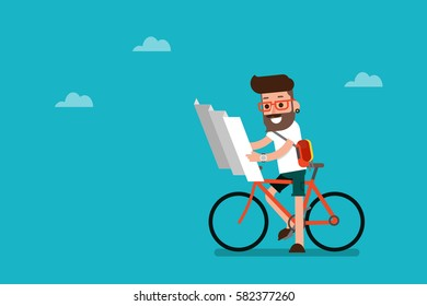 Hipster male cyclist looking at map. Flat design, vector.