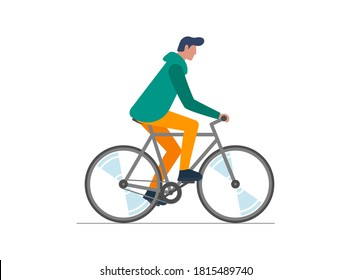 Hipster male riding bike. Young man cyclist isolated on white background. Stylish guy on bicycle flat vector illustration