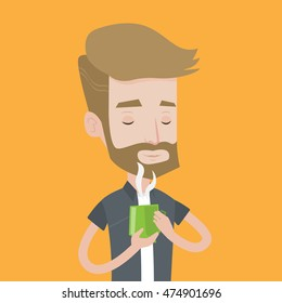 A hipster man with the beard drinking hot flavored coffee. Young smiling man holding cup of coffee with steam. Man with his eyes closed enjoying coffee. Vector flat design illustration. Square layout.