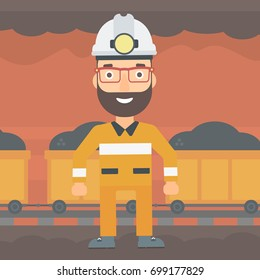 A hipster man with the beard in hardhat with torch on the background of mining tunnel with cart full of coal vector flat design illustration. Square layout.