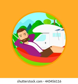 Hipster man with the beard lying in a hammock in front of motor home, enjoying vacation in camper van. Vector flat design illustration in the circle isolated on background.