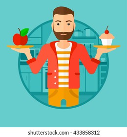 A hipster man with the beard standing with apple and cupcake in hands in the kitchen. Man choosing between apple and cupcake. Vector flat design illustration in the circle isolated on background.