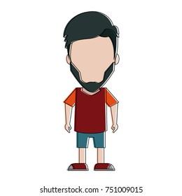Hipster man cartoon icon vector illustration graphic design