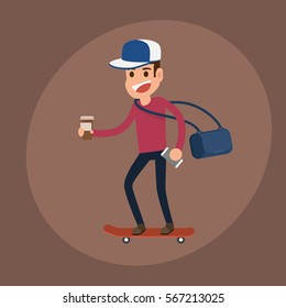 Hipster man character. Man riding skateboard with Coffee paper cup and smartphone. Cartoon vector Illustration.