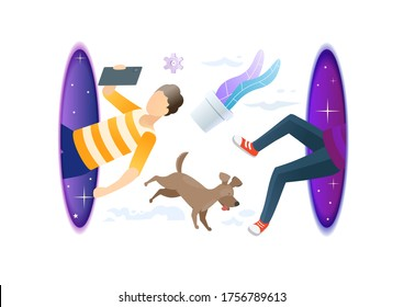 Hipster man with dog flying through the portal. Fantasy teleport. Online computer game concept. Modern style vector illustration for landing page, website, banners and presentation. Creative concept.