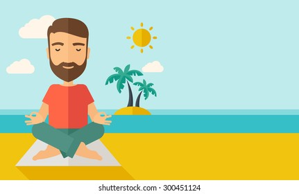 A hipster man doing yoga in the beach with his yoga pad under the sun.  Contemporary style with pastel palette, soft blue tinted background with desaturated cloud. Vector flat design illustrations