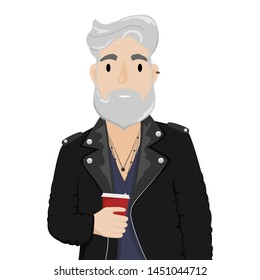 A hipster man with gray hair and a beard in a leather biker jacket with a cup of coffee. Subculture, fashion.