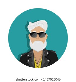 A hipster man with gray hair and a beard in a leather biker jacket and sunglasses. Subculture, fashion.