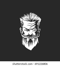 Hipster man, hairstyle, beard and mustache, black background, vector illustration