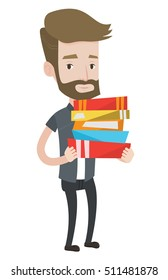 Hipster man holding a pile of educational books in hands. Smiling student carrying huge stack of books. Student holding pile of books. Vector flat design illustration isolated on white background.