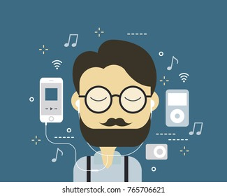Hipster man listen to the music, Music players in 2000s, Smart phone with music streaming technology, Flat vetor, Illustration