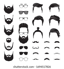 Hipster man. Male beard, mustache hair. Isolated man face with glasses. Fashion barber shop icons. Portrait constructor vector illustration