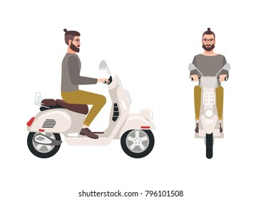 Hipster man or male cartoon character with trendy hairstyle and beard riding scooter. Stylish boy sitting on modern motor vehicle isolated on white background. Vector illustration in flat style.
